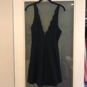 Solemio Black Scallop Mini Dress